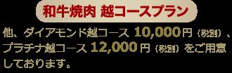 和牛越コースプラン他、サファイア越コース(5,000円)、ダイアモンド越コース(10,000円)をご用意しております。